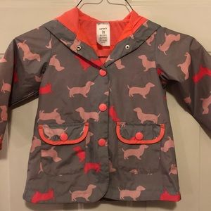 Carter's Puppy Dog pink Gray Raincoat Jacket 3T